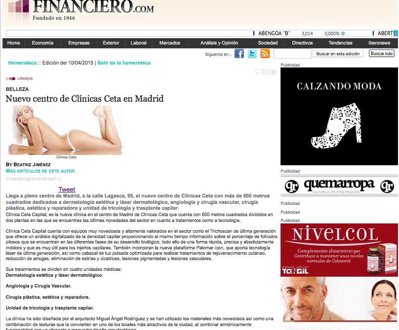 Mención de la apertura de Ceta Capital en El Mundo Financiero